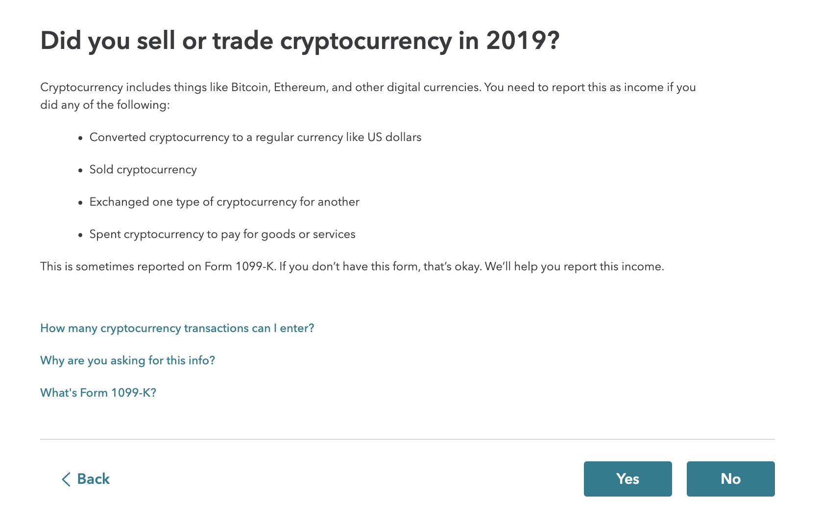 TurboTax cryptocurrency question