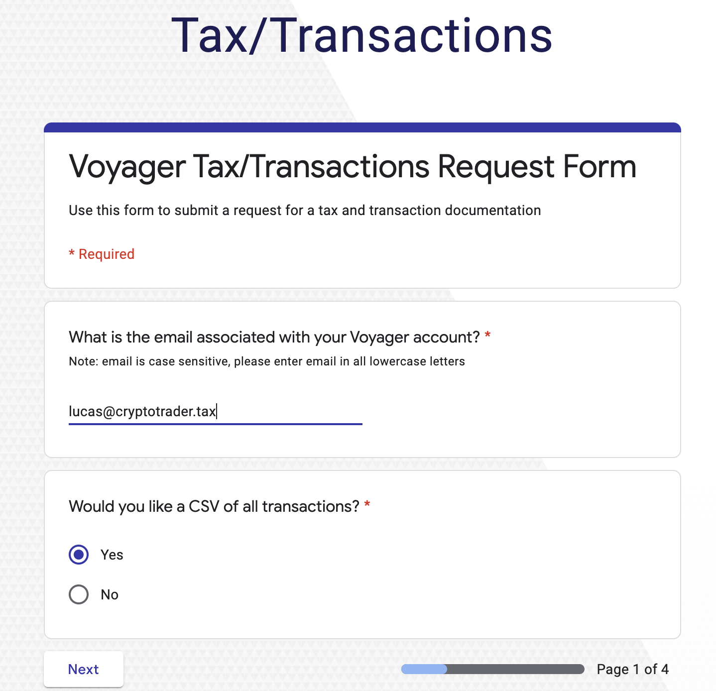 Voyager tax transactions