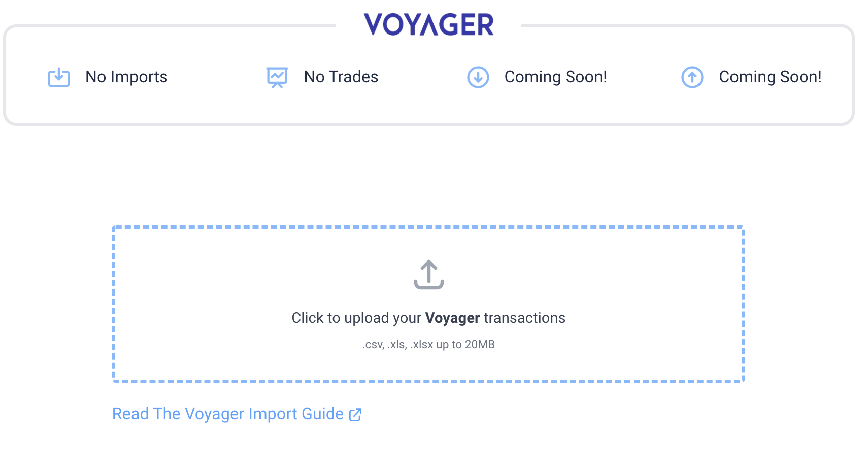 Import Voyager to CryptoTrader.Tax