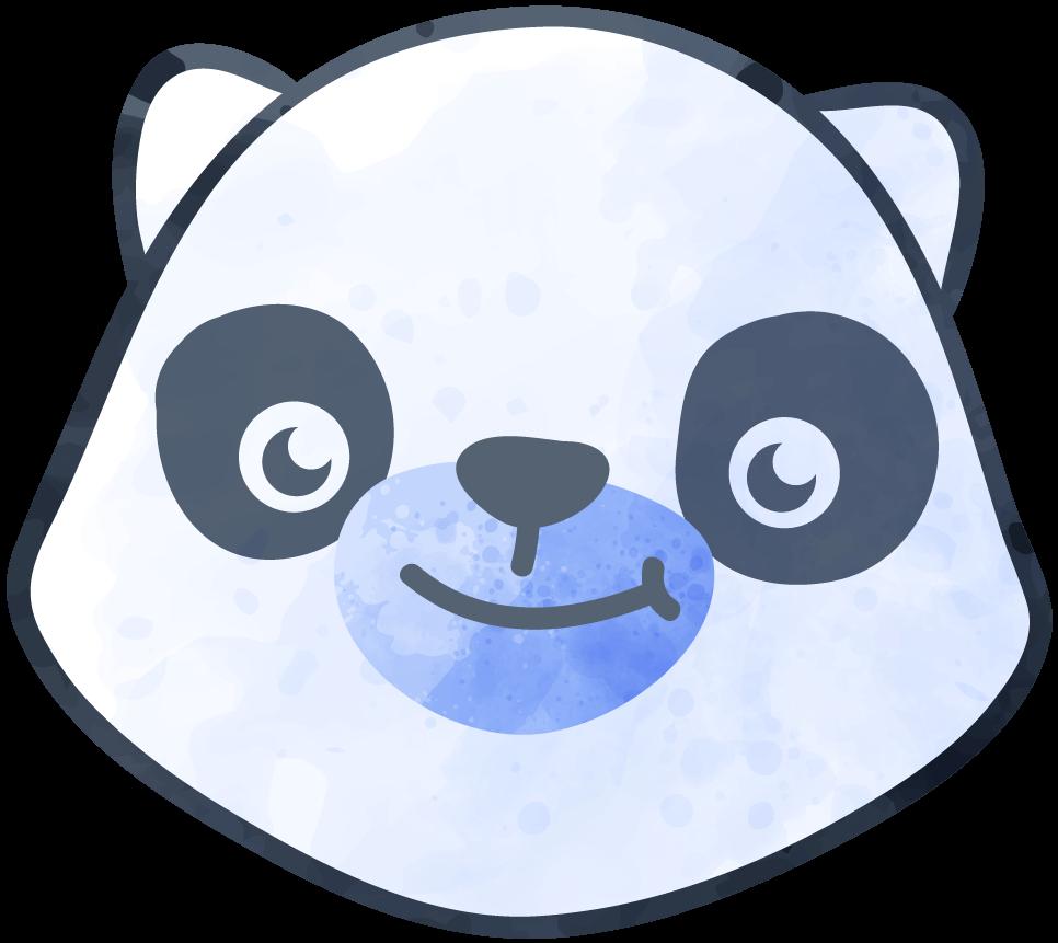 A black and white panda bear face