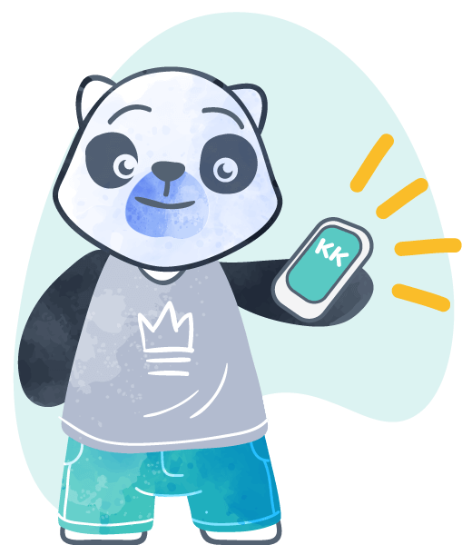 A black and white panda bear holding a ringing cell phone