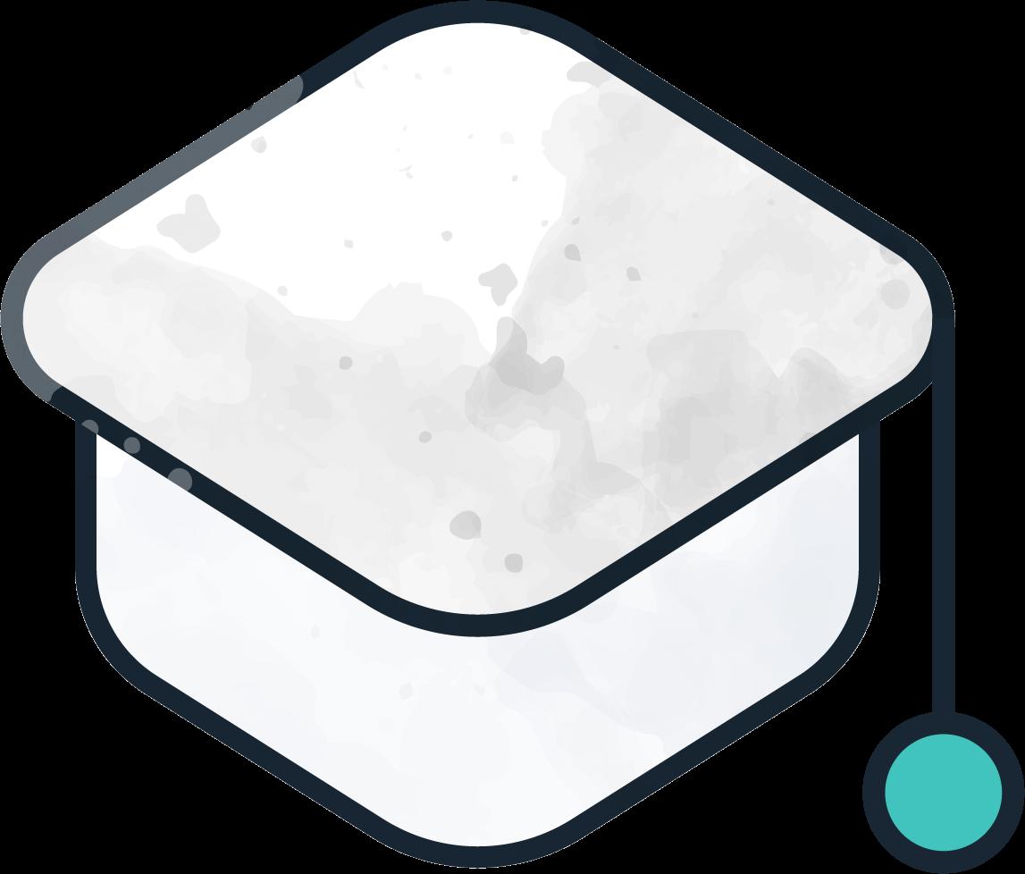 A Kiddie Kredit Academy graduation white cap