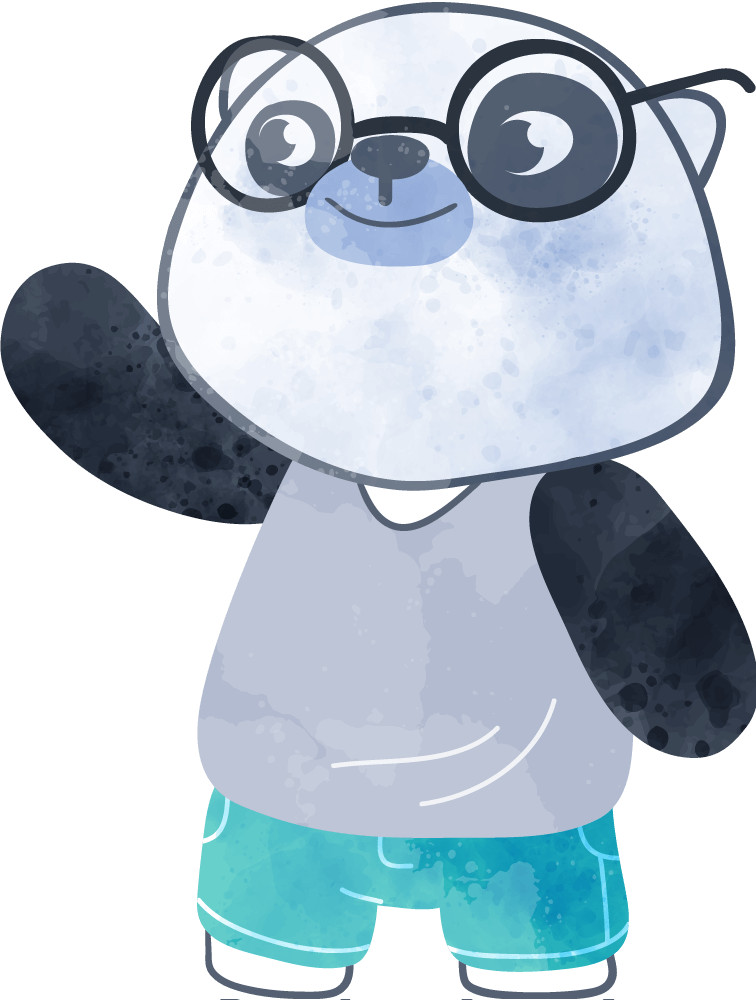 A panda bear cub with glasses and a grey tank top and green shorts