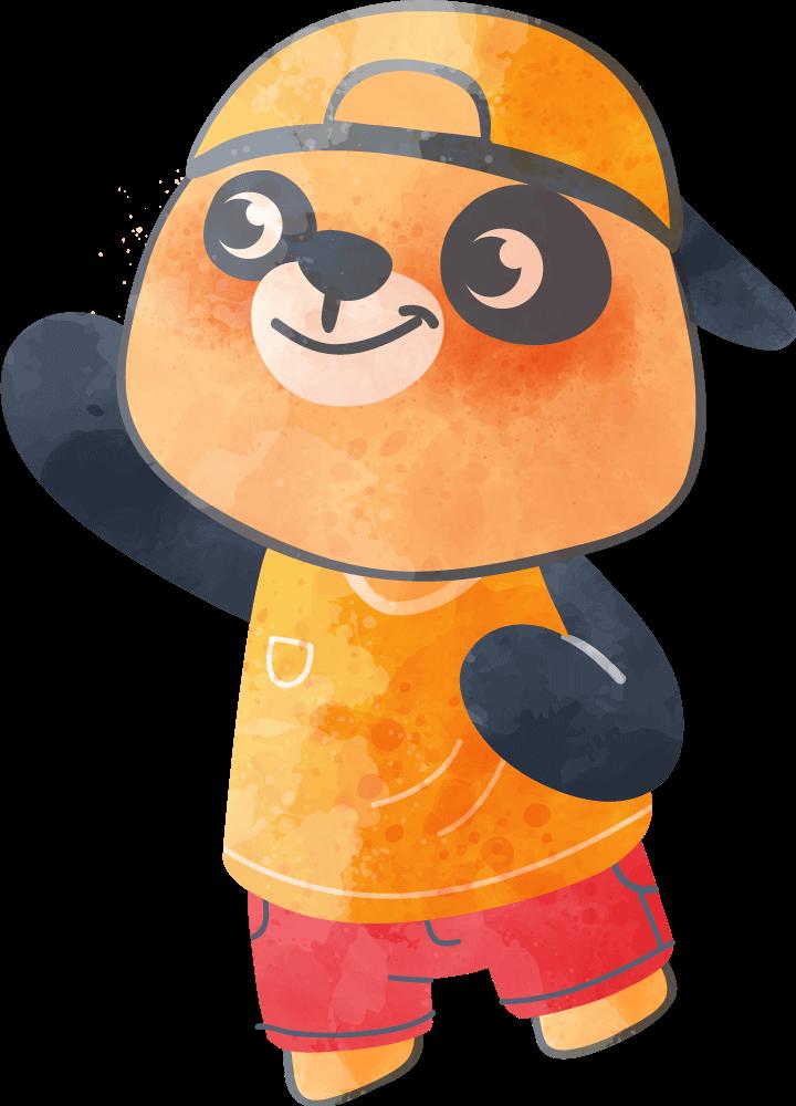 A small orange panda bear child