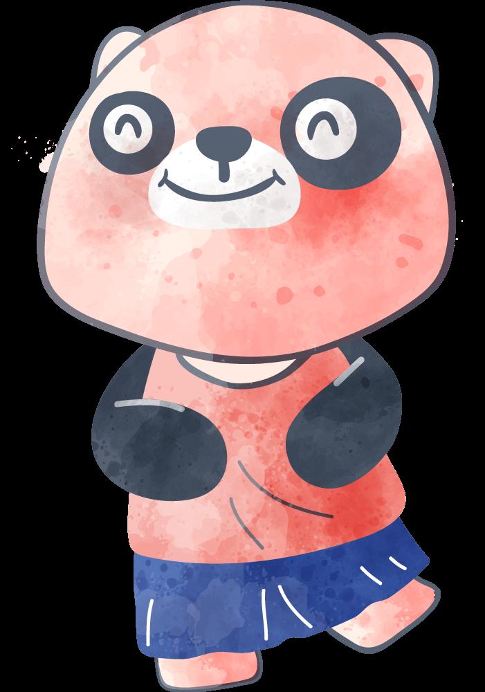 A small pink panda bear child