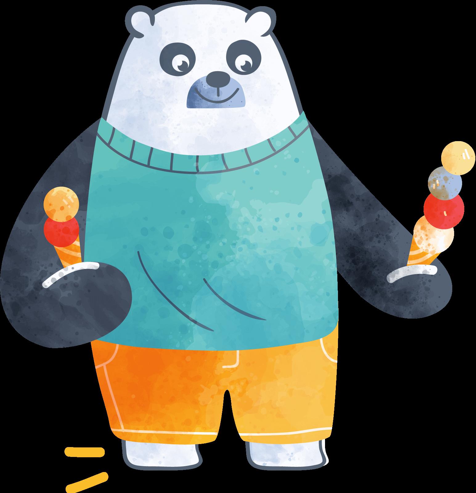 A panda bear holding ice cream cones in each hand