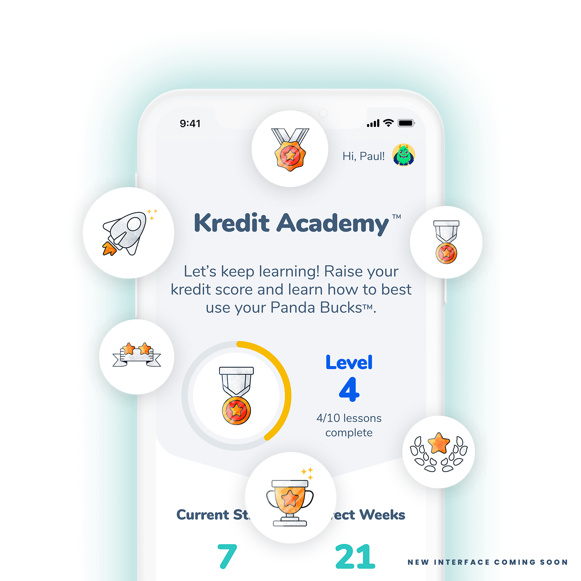 A mobile device featuring the Kiddie Kredit Academy rewards icons