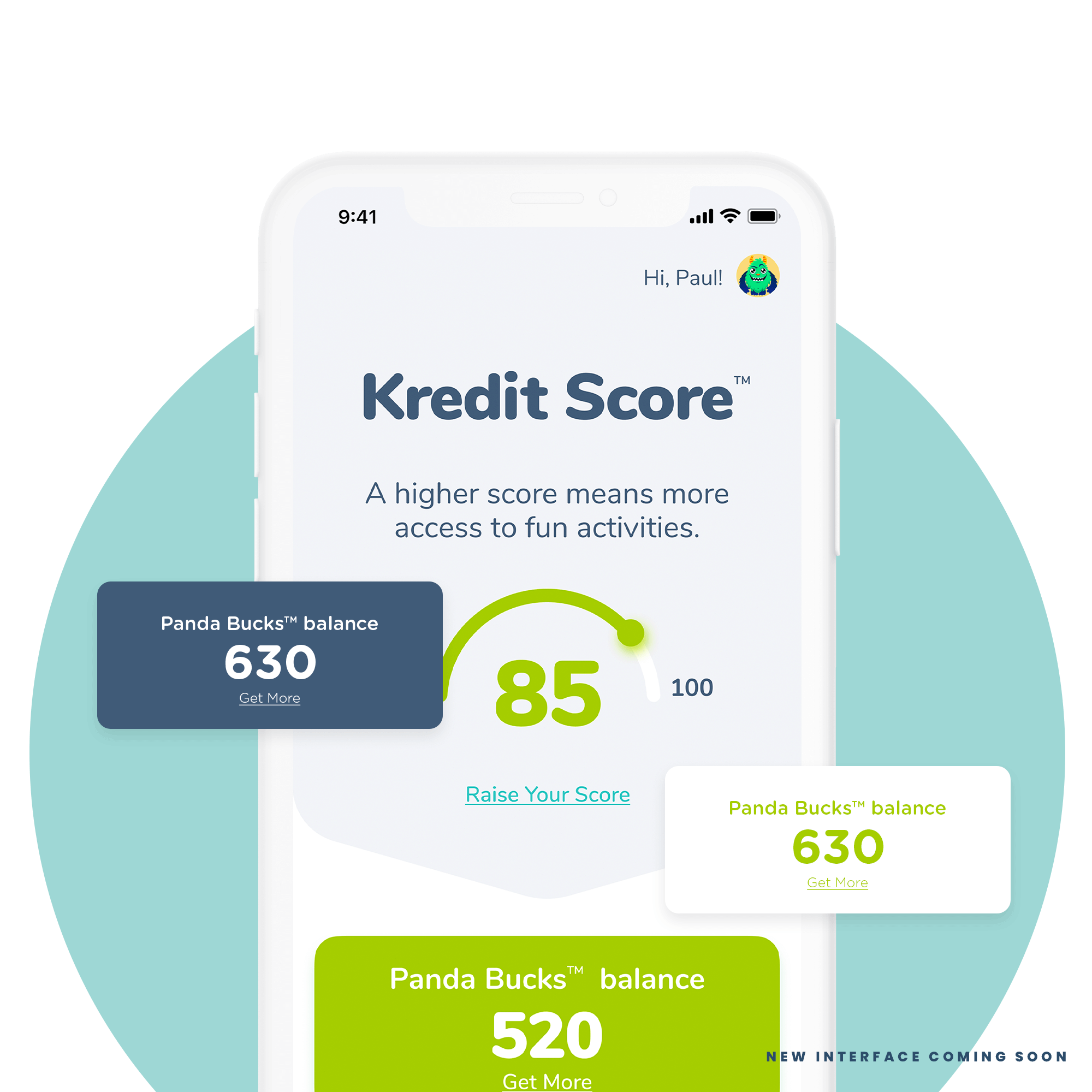 A Kiddie Kredit score dashboard, featuring Panda bucks balance on a mobile device