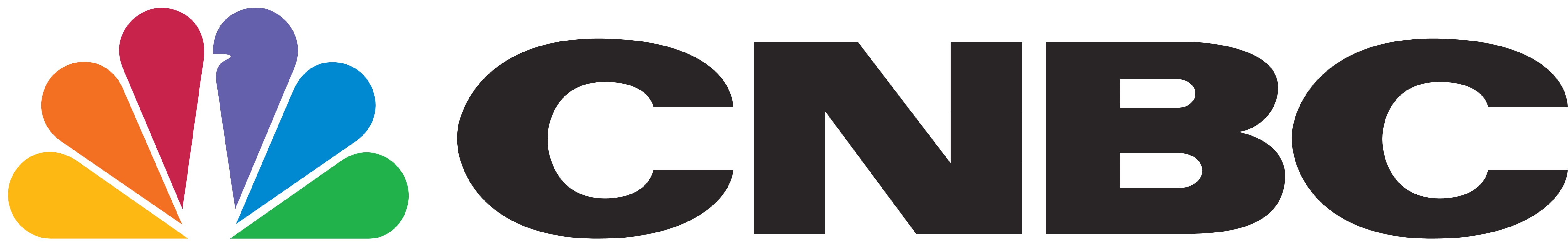 CNBC logo horizontal in rainbow color and black colors