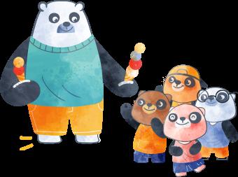 A big panda bear with four small panda bears sharing ice cream