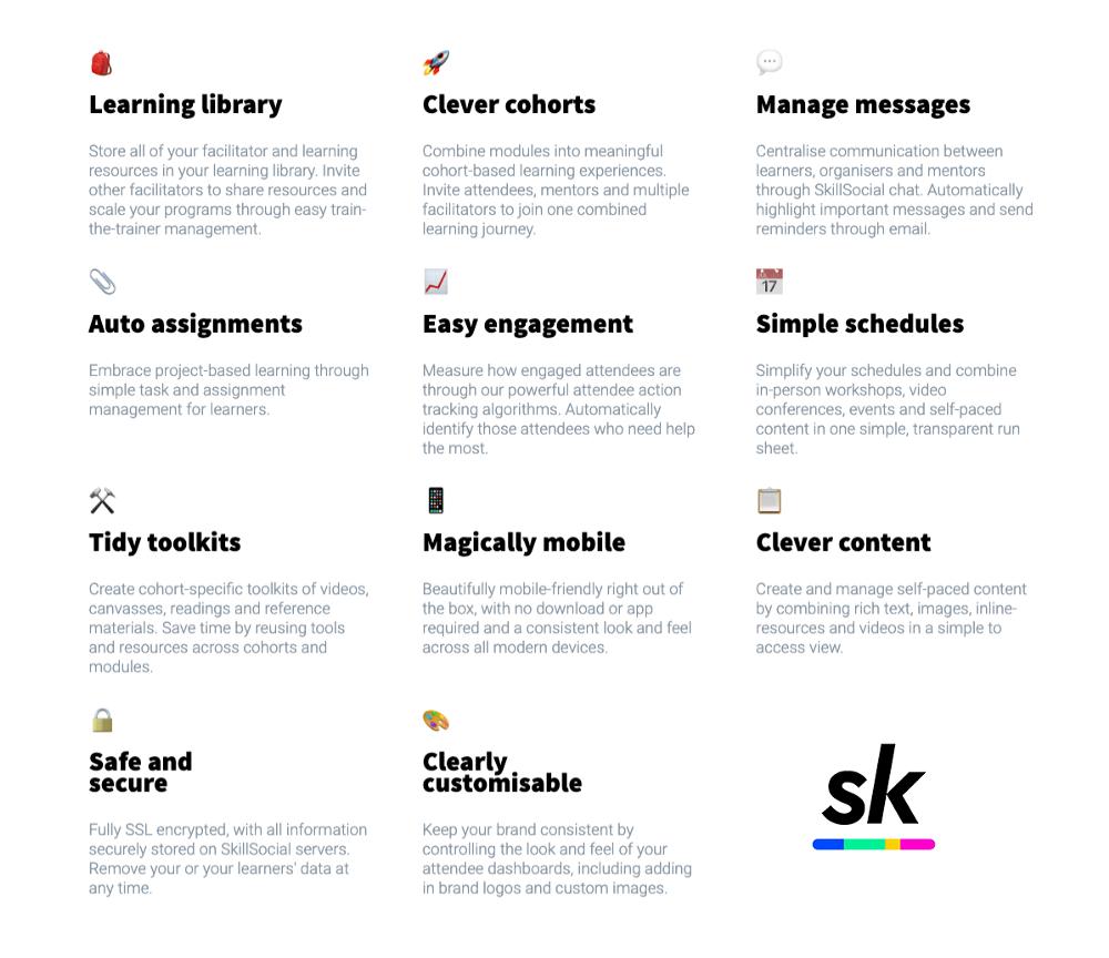 SkillSocial facilitation platform sreen