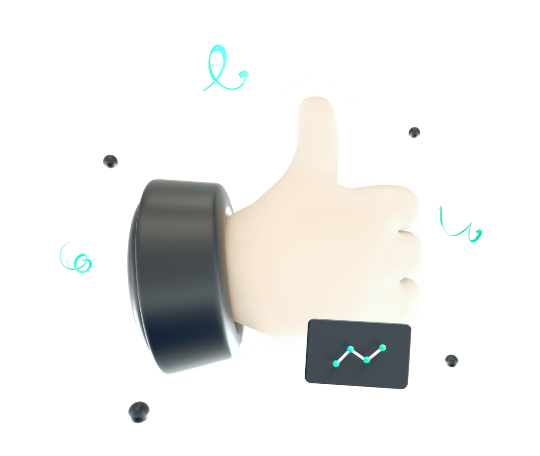 3d illustration of a hand that shows a thumb up