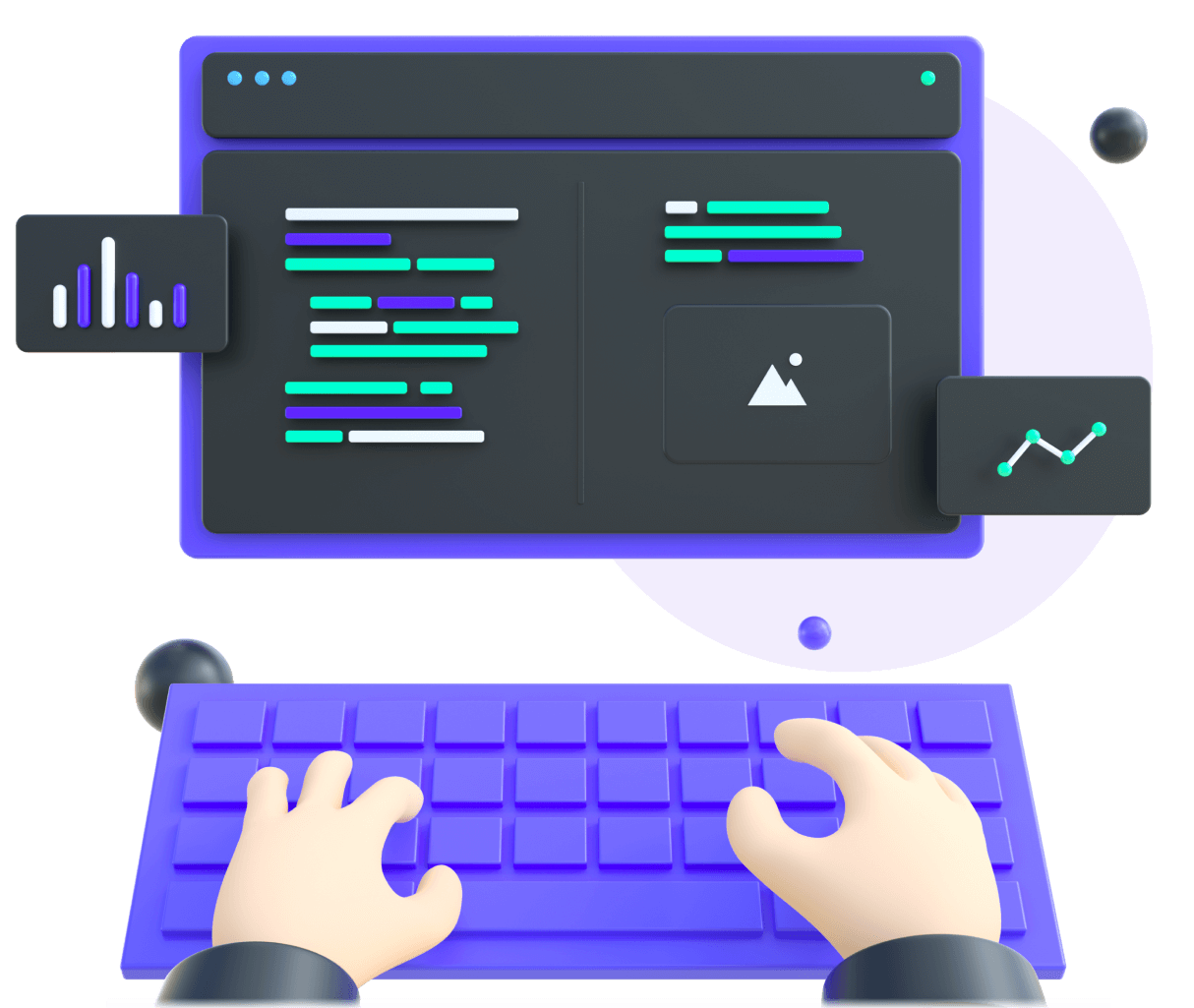 3d illustration showing hands that are building code on a computer