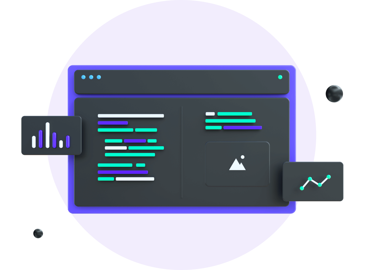 illustration of a 3d screen with lines of code