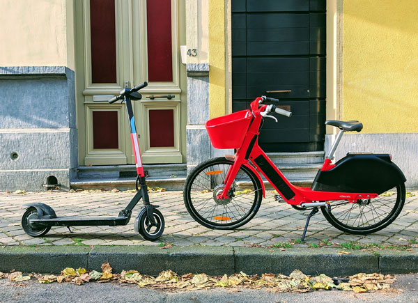 Electric bike and scooter showing micromobility in dense areas