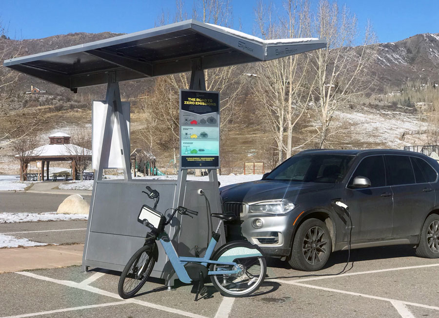 Skyhook Solar D4 Station charging electric car and bike