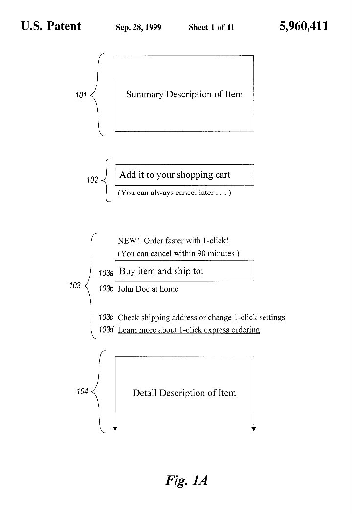 Screenshot from Amazon's patent for 1-click checkout with the US Patent Office, filed in 1999