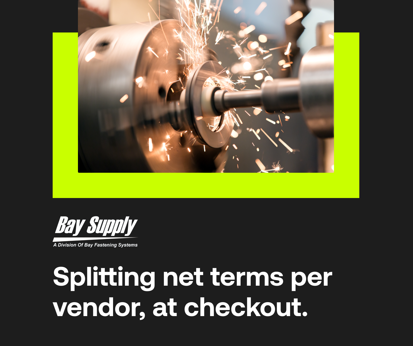 Bay Supply: How a B2B marketplace splits net terms at checkout