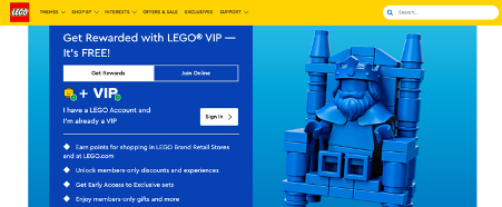 Lego's E-Commerce store offers a VIP loyalty program