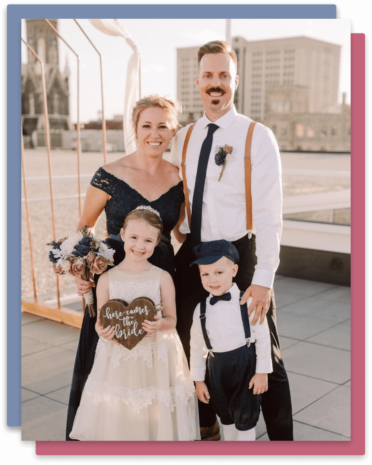 Cory Runnells, his wife, and two children.