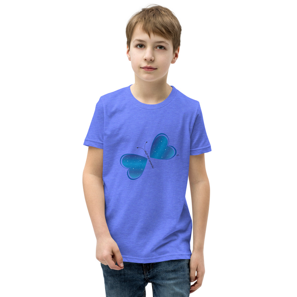 This is the Be the Change Butterfly tee that you've been looking for, and it's bound to become a favorite in any youngster's wardrobe. It's light, soft, and comes with a unique design that stands out from the crowd wherever you go!  Features: • 100% soft jersey cotton • Pre-shrunk fabric • Relaxed unisex fit • Heather colors are 52% combed and ring-spun cotton, 48% polyester • Athletic Heather is 90% Airlume combed and ring-spun cotton, 10% polyester