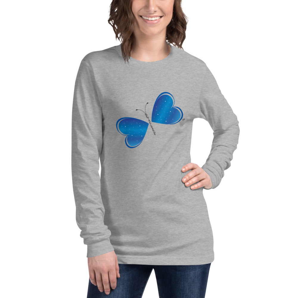 Enrich your wardrobe with a versatile Be the Change Butterfly long sleeve tee. For a casual look, combine it with your favorite jeans, and layer it with a button-up shirt, a zip-up hoodie, or a snazzy jacket. Dress it up with formal trousers or chinos to achieve a more professional look.  Features: • Slim fit • Crew neck • Cover-stitched collar • 2'' ribbed cuffs • 100% combed and ring-spun cotton • Heather colors are 52% combed and ring-spun cotton, 48% polyester • Athletic Heather is 90% combed and ring-spun cotton, 10% polyester