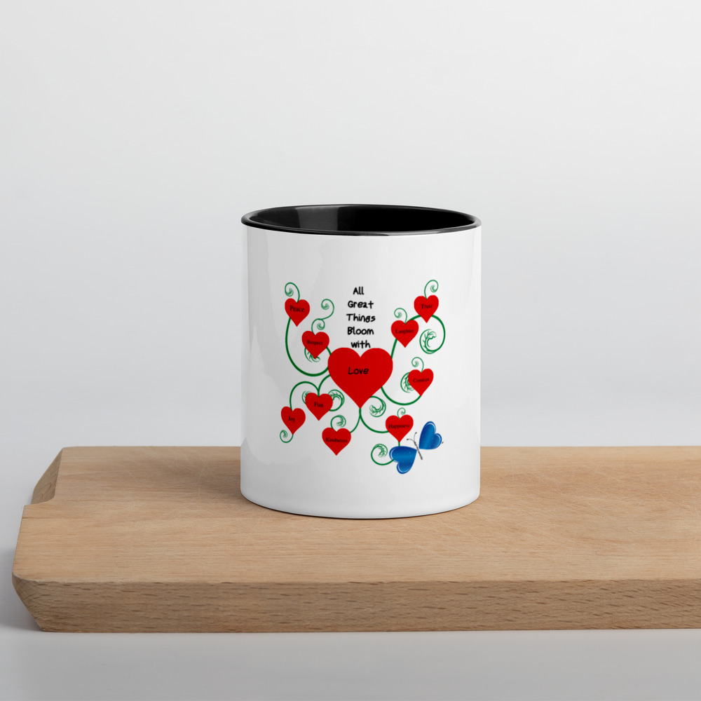 "This unique Bloomin' with Love mug will add a splash of color to your morning coffee or tea ritual! This white ceramic mug has a colorful rim, handle, and inside, so the mug is bound to spice up your mug rack.  Features: • White Ceramic • Color rim, inside, and handle • Dishwasher and microwave safe • Height: 3.85"" (9.8 cm) • Diameter: 3.35"" (8.5 cm)"