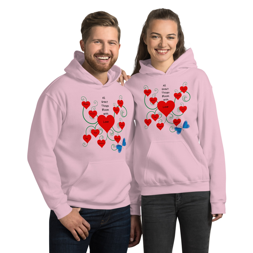 Get cozy and comfy with the Bloomin' with Love Hoodie!  This unique Unisex hoodie will have you turning heads while keeping you warm all night long.  Features: • Front pouch pocket  • Double-lined hood • 50% cotton, 50% polyester  • Air-jet spun yarn with a soft feel and reduced pilling • 1x1 athletic rib knit cuffs and waistband with spandex