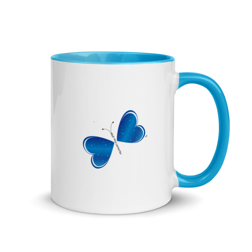 """Add a splash of color to your morning coffee or tea ritual with this Be the Change Butterfly Mug! These ceramic mugs not only have a  beautiful design on them, but also a colorful rim, handle, and inside, so the mug is bound to spice up your mug rack.  • Ceramic • Height: 3.85"""" (9.8 cm) • Diameter: 3.35"""" (8.5 cm) • White print area • Color rim, inside, and handle • Dishwasher and microwave safe"""