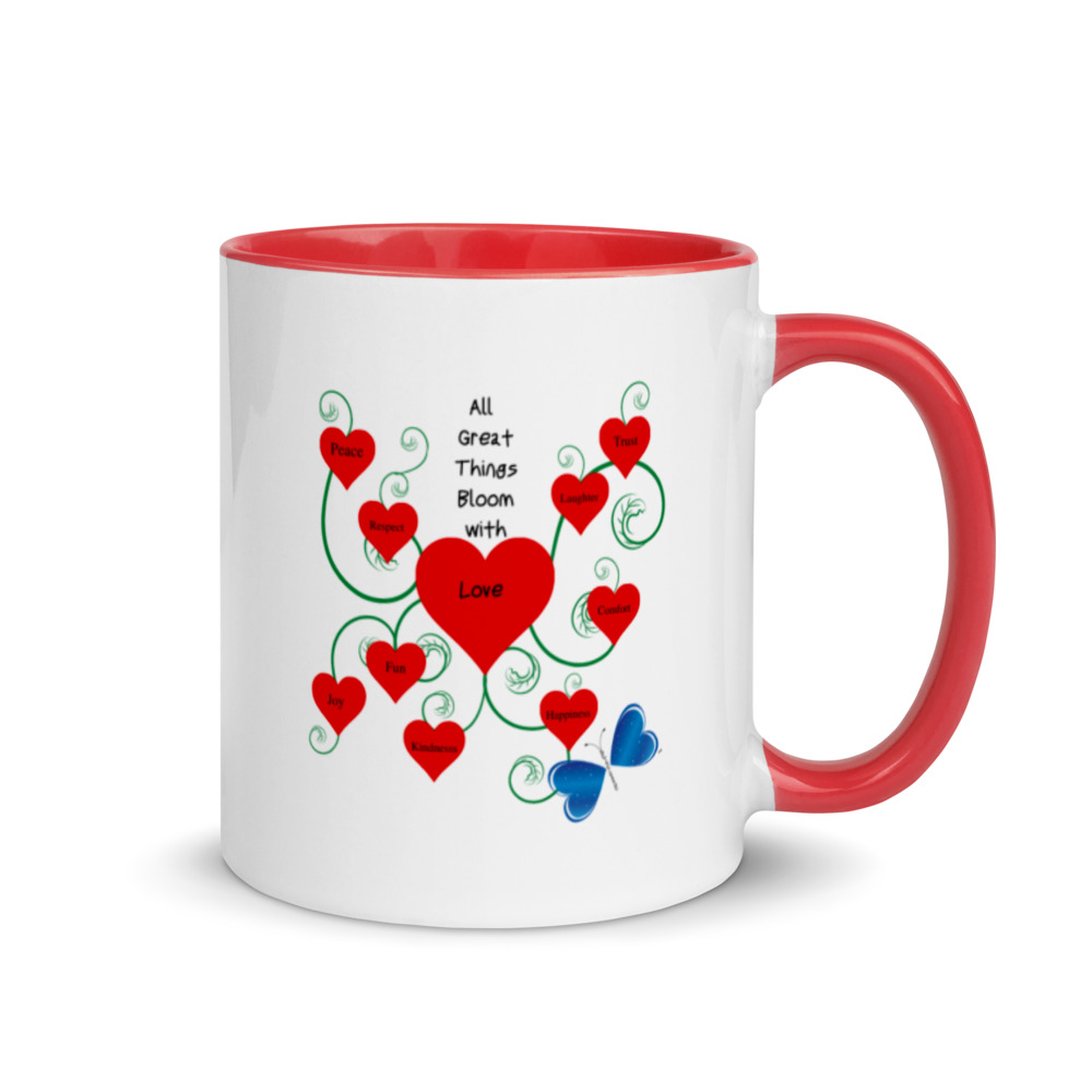 """Add a splash of colorful Love to your morning coffee or tea ritual with the Bloomin' with Love mug! These ceramic mugs not only have a  beautiful design on them, but also a colorful rim, handle, and inside, so the mug is bound to spice up your mug rack.  Order one in each color for a complete set.  • Ceramic • Height: 3.85"""" (9.8 cm) • Diameter: 3.35"""" (8.5 cm) • White print area • Color rim, inside, and handle • Dishwasher and microwave safe"""