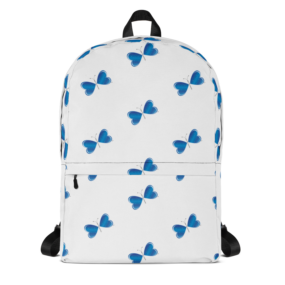 "This medium size Be the Change Butterfly backpack is just what you need for daily use or sports activities! The pockets (including one for your laptop) give plenty of room for all your necessities, while the water-resistant material will protect them from the weather.   • Made from 100% polyester • Dimensions: H 16⅞"" (42cm), W 12¼"" (31cm), D 3⅞"" (10cm) • Maximum weight limit: 44lbs (20kg) • Water-resistant material • Large inside pocket with a separate compartment for a 15"" laptop, front pocket with a zipper, and a hidden pocket with zipper on the back of the bag • Top zipper has 2 sliders with zipper pullers • Silky lining, piped inside hems, and a soft mesh back • Padded ergonomic bag straps from polyester with plastic strap regulators"