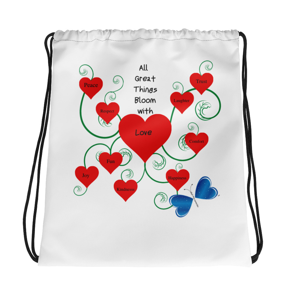 """This Bloomin' with Love drawstring bag is a must-have gym essential that can be worn as a backpack with drawstring closure at top, and narrow, contrasting shoulder straps.   • 100% spun polyester • Bag size: 15""""× 17"""" • Maximum weight limit: 33lbs (15kg) • Twin cotton handles • Drawstring closure • Blank product components in the US sourced from China • Blank product components in the EU sourced from China and the EU"""
