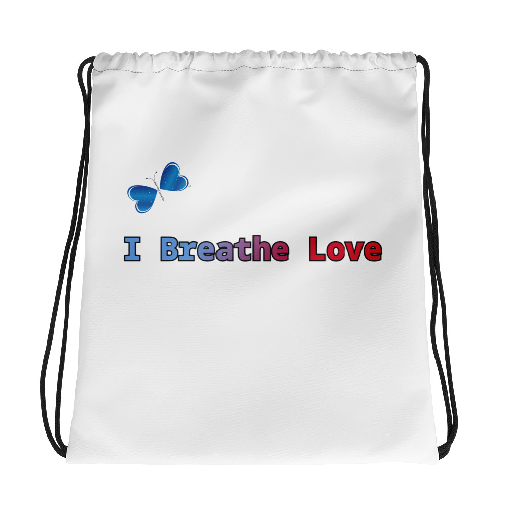 "Be sporty and vibrant with this I Breathe Love drawstring bag.  It's a must-have gym essential that can be worn as a backpack with drawstring closure at top, and narrow, contrasting shoulder straps.   • 100% spun polyester • Bag size: 15""× 17"" • Maximum weight limit: 33lbs (15kg) • Twin cotton handles • Drawstring closure • Blank product components in the US sourced from China • Blank product components in the EU sourced from China and the EU"