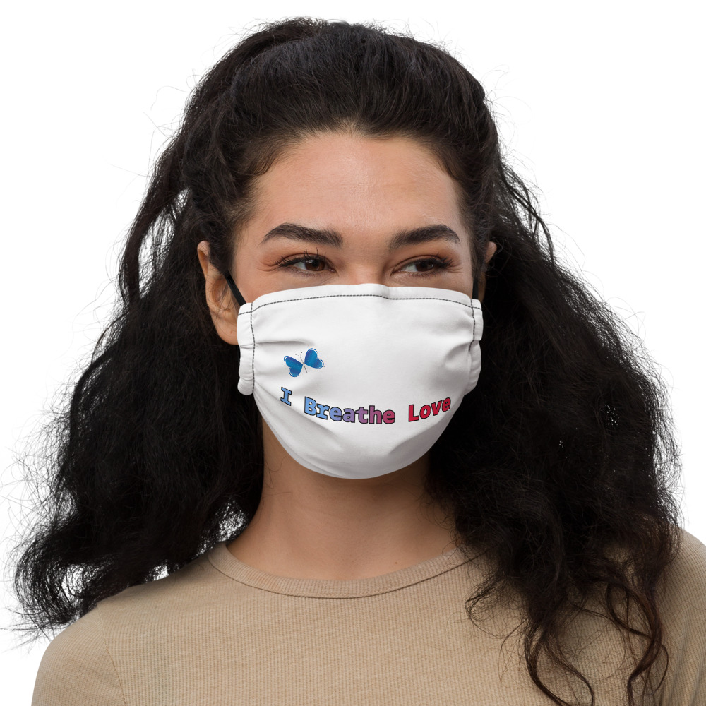 This reusable I Breathe Love face mask will fit you nicely thanks to its adjustable nose wire and elastic bands. Choose this I Breathe Love design that will complement your style, while spreading the message of Love.   • 100% supersoft polyester microfiber   • Fabric weight: 2.4–2.5 oz/yd² (80-85 g/m²)  • Nose wire that helps adjust the mask  • Elastic bands with PVC earloop size regulators  • Pocket for a filter or napkin  • Washable and reusable  • Blank product components sourced from the UK and China