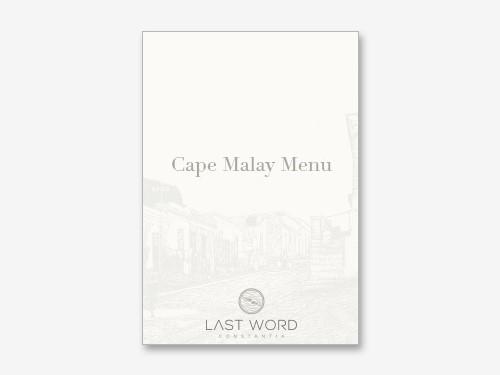 Constantia Cape Malay Dinner Menu
