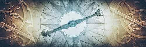 ein alter kompass zeigt nach sued-osten