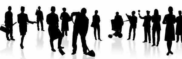 schwarze silhouetten arbeitender menschen auf weissem grund
