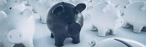 ein schwarzes sparschwein zwischen vielen weissen sparschweinen