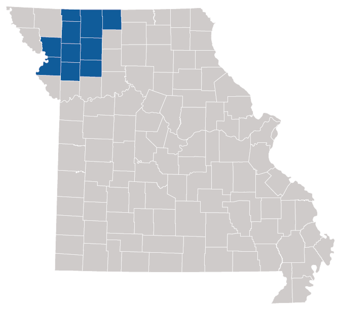 The state of Missouri with ten  counties highlighted that are offering additional resources.
