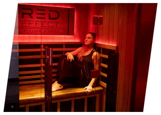 Woman looking relaxed in an infrared sauna