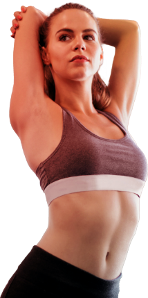 A woman stretching her tricep muscle