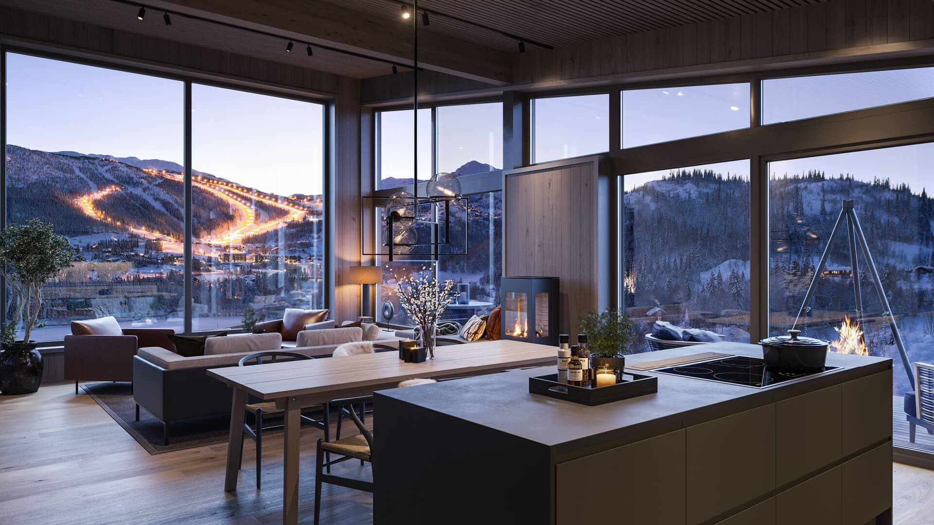 Fridalen får fantastisk utsikt mot fjellene rundt. Illustrasjon fra stue/kjøkken.
