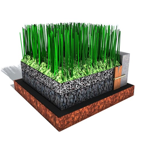 Showing the x-grass layers for draining purposes.