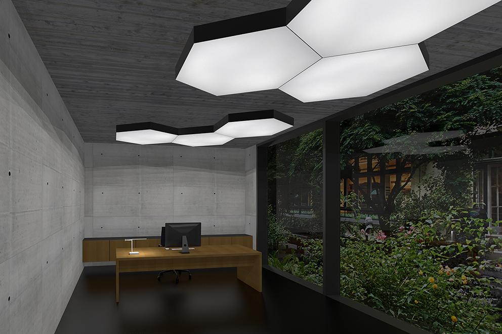 Licht und Akustikdecke im Büro