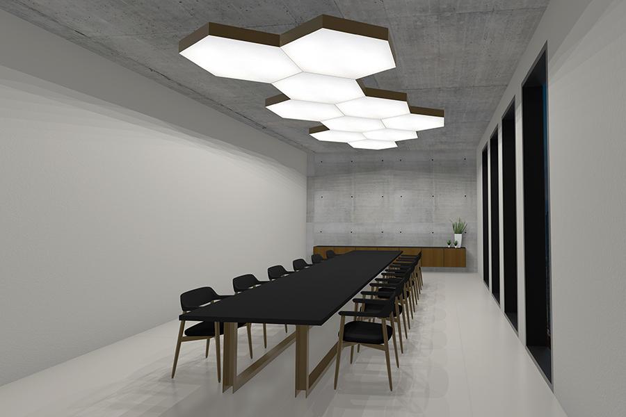 LED Lichtdecke Silentlight Hexa im Konferenzbereich