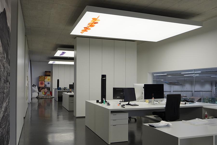 LED Lichtdecke, akustisch wirksam im Büro