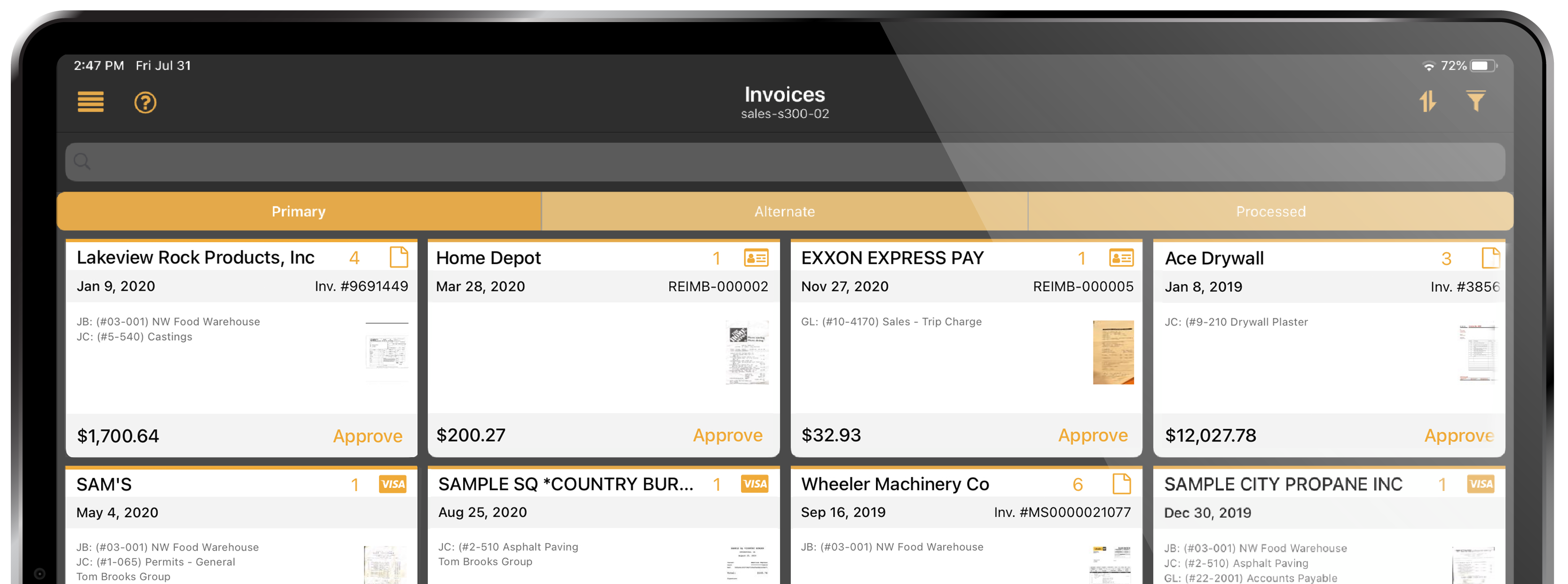 Document Flow.  Invoice coding, routing and approval on a tablet.