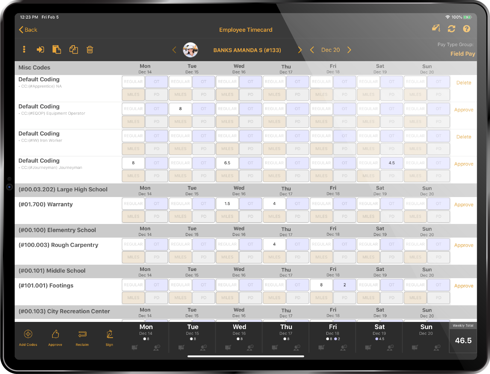 Remote payroll. weekly time entry view on a tablet.