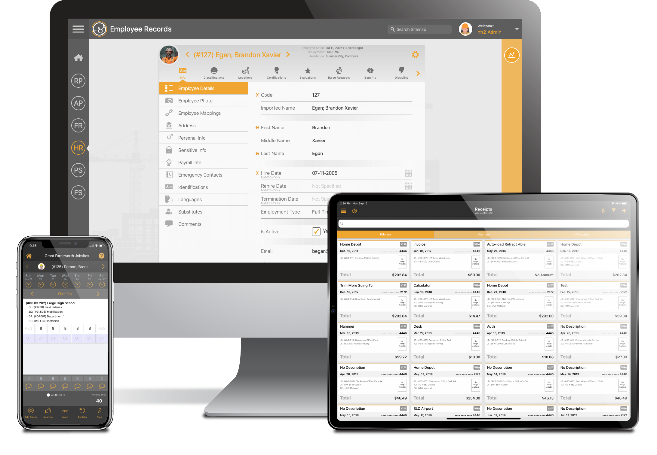 desktop, tablet and mobile apps for Human resources, Document Flow and Remote Payroll