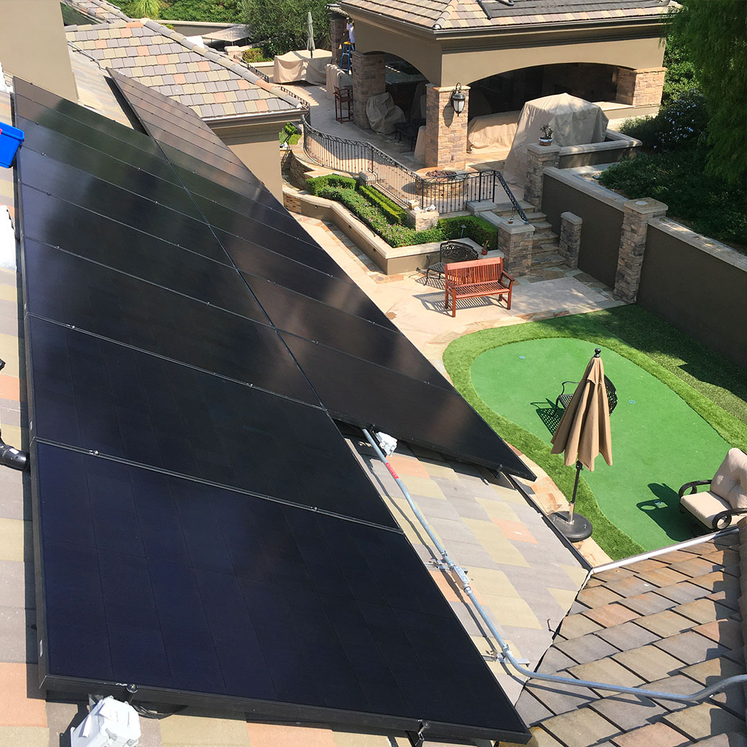 Clean solar panel with backward overview.